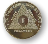 Classic Gold Plated Months Anniversary AA Medallion