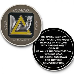 AA Sober Camel Black-Yellow Tri-Plated Medallion