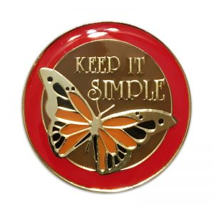 Keep it Simple Butterfly Recovery Medallion with Serenity Prayer