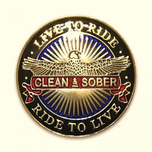 Live to Ride Clean and Sober Tri-Plated Recovery Medallion