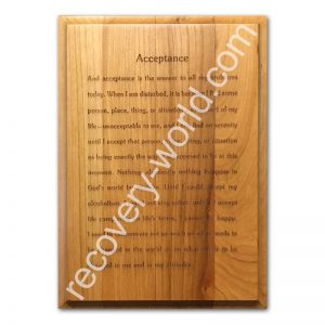 AA Acceptance from Big Book pg 417 Engraved Plaque