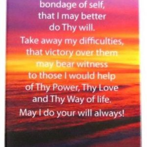 AA 3rd Step Prayer Glass Plaque with Easel